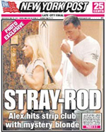New York Post shows a picture of Alex Rodriguez Toronto affair